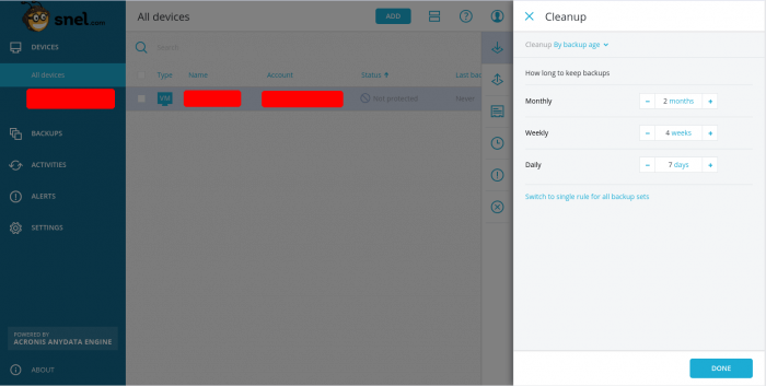 How to setup scheduled backups through Acronis Backup Cloud Management Console - 06
