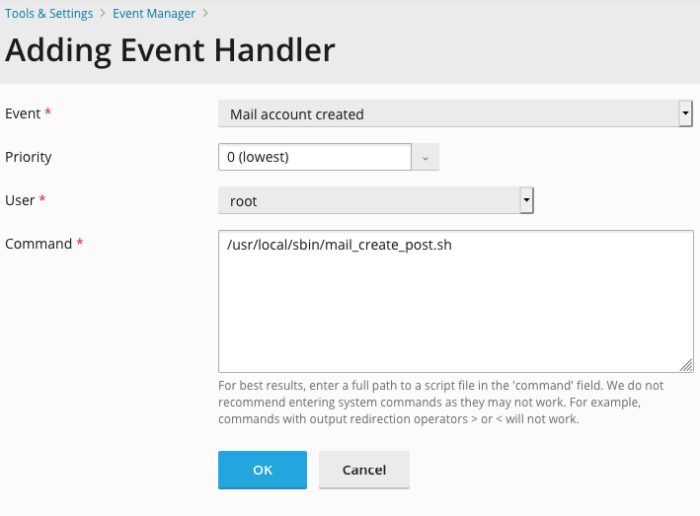 Plesk Obsidian Adding Event Handler Mail Account Created