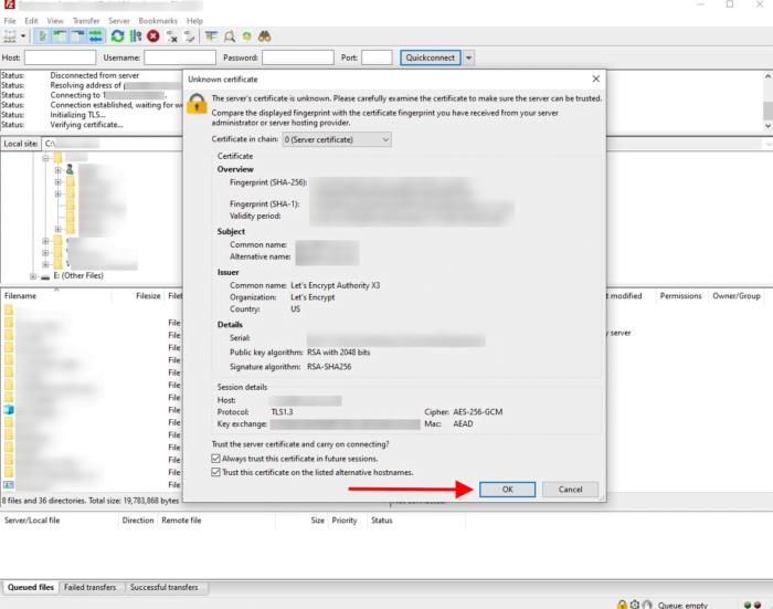 certificate melding FileZ