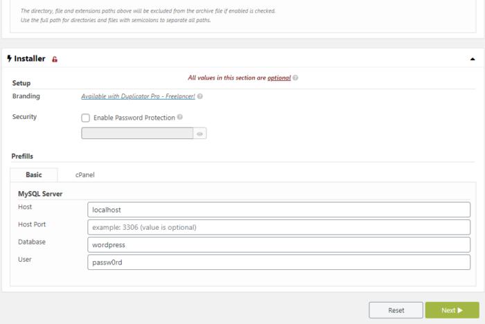 Duplicator MySQL settings