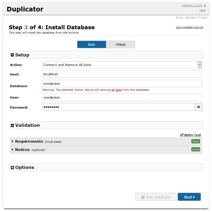 Duplicator Database Install