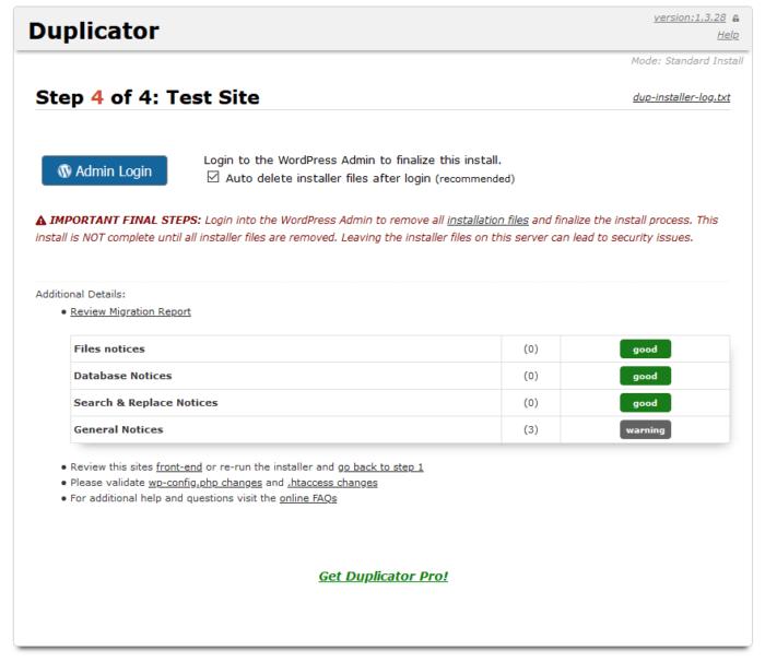 Duplicator Installer Test
