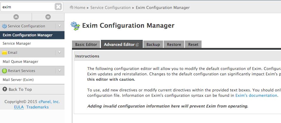 Setup SMTP relay / smarthost with cPanel | Snel com