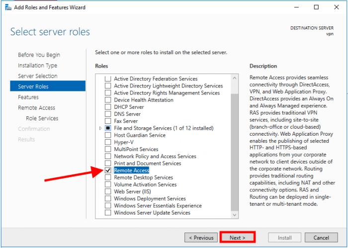 windows server 2016 role list