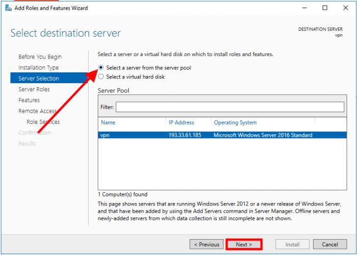windows server 2016 server pool