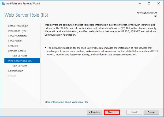 windows server 2016 ras finish