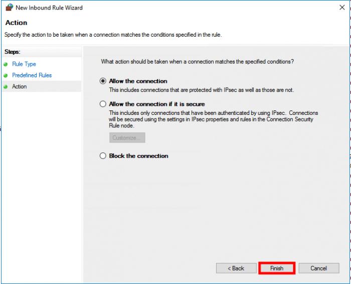 windows server 2016 connection