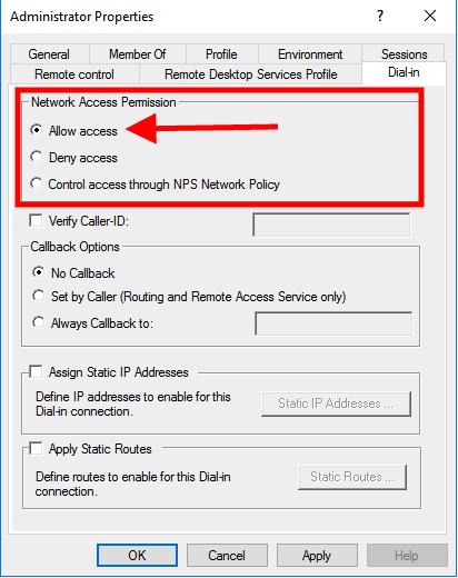 windows server 2016 dialin