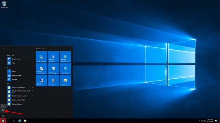 windows server 2016 settings