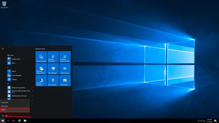 windows server 2016 restart