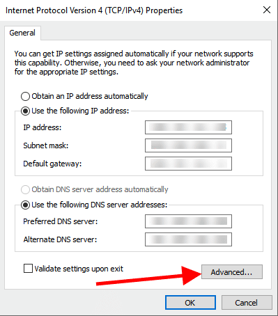 additional ipv4-address network advanced properties