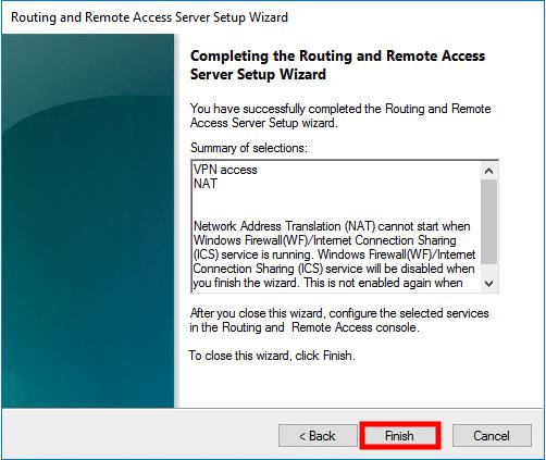 windows server 2016 finish