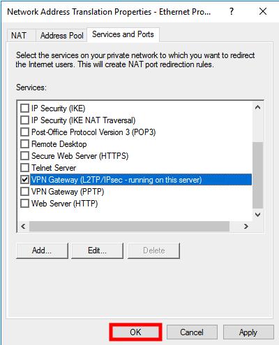 windows server 2016 nat properties