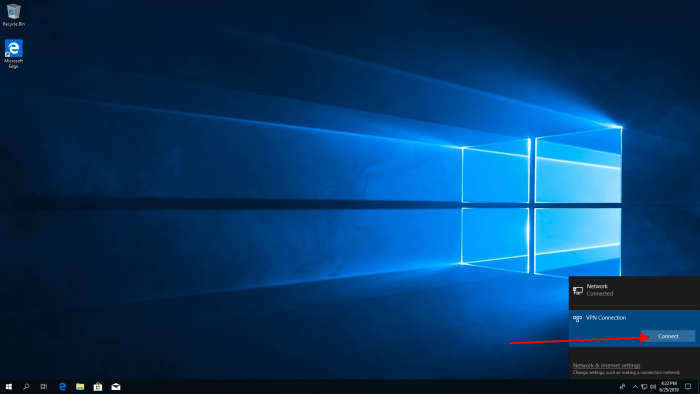windows 10 make connection