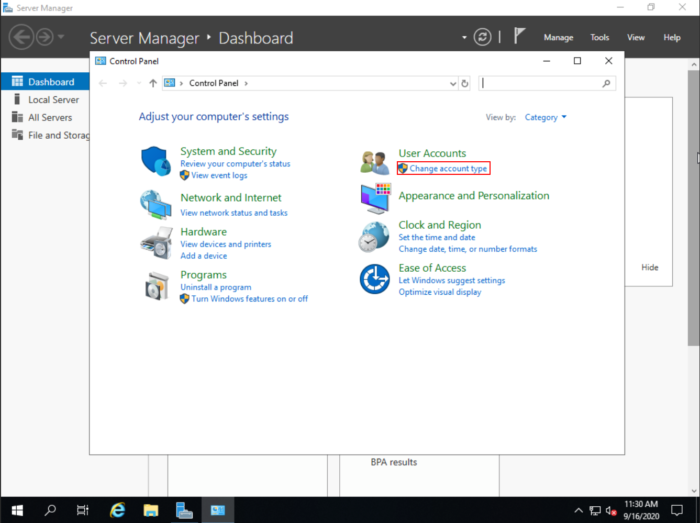 Windows Server 2019  change account type