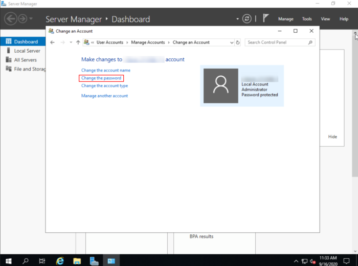 Windows Server 2019 change password