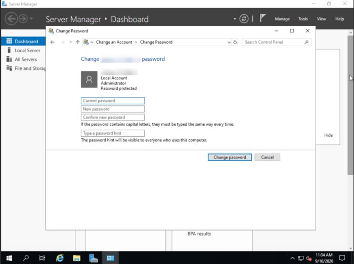 Windows Server 2019 password change