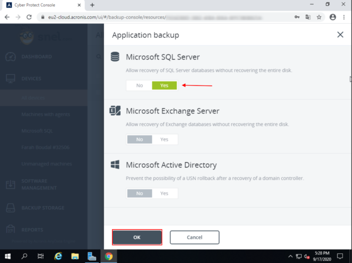 Cloud Acronis MSSQL