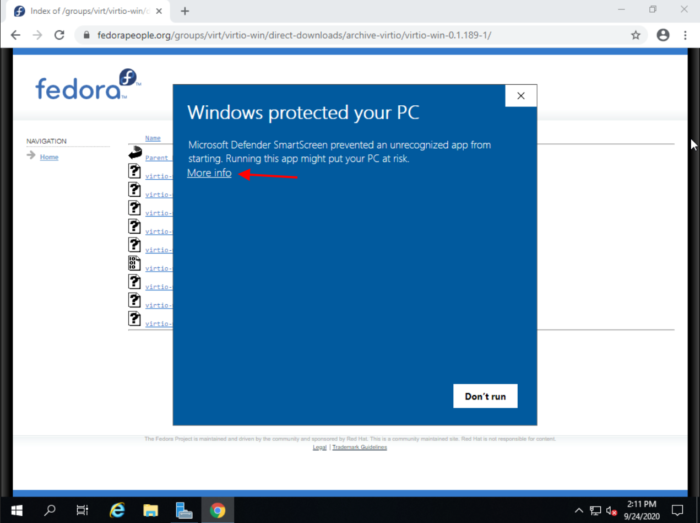 Windows Protection Notification