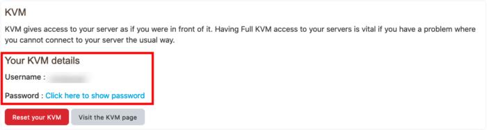 kvm login credentials