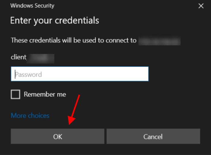 RDP password
