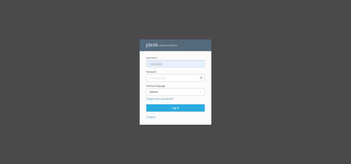 Plesk login screen
