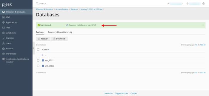 Acronis Plesk Recovered Database